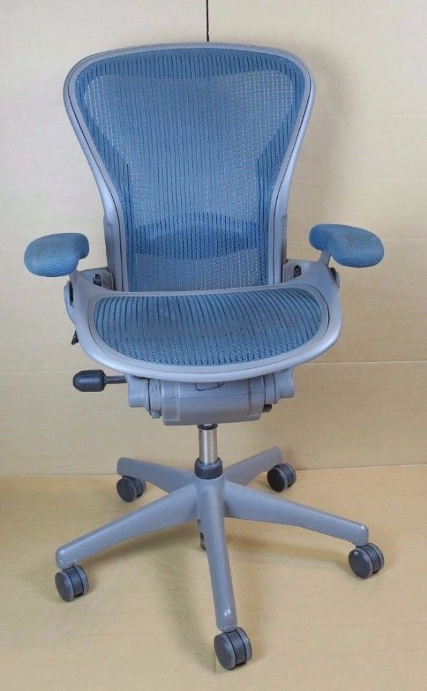 Herman Miller Aeron - Blue Medium B Size Office Swivel Chair Adjustable Arms